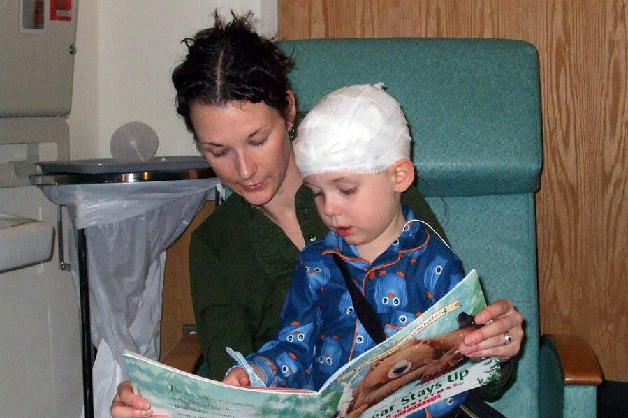 Beth & Benny Reading in hospital before an eeg